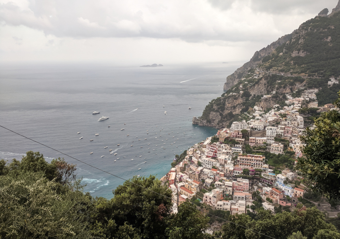 View of Positano along the Amalfi Coast | Hiking the Path of the Gods from Sorrento, Italy on the Amalfi Coast | #pathofthegods #sorrento #amalficoast #hiking #italy