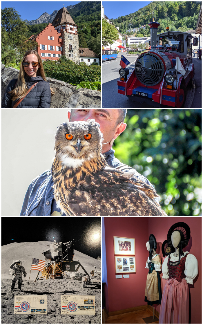 The Red House | Riding the Citytrain | the bird of prey show in Malbun | the Postal Museum | the Liechtenstein National Museum