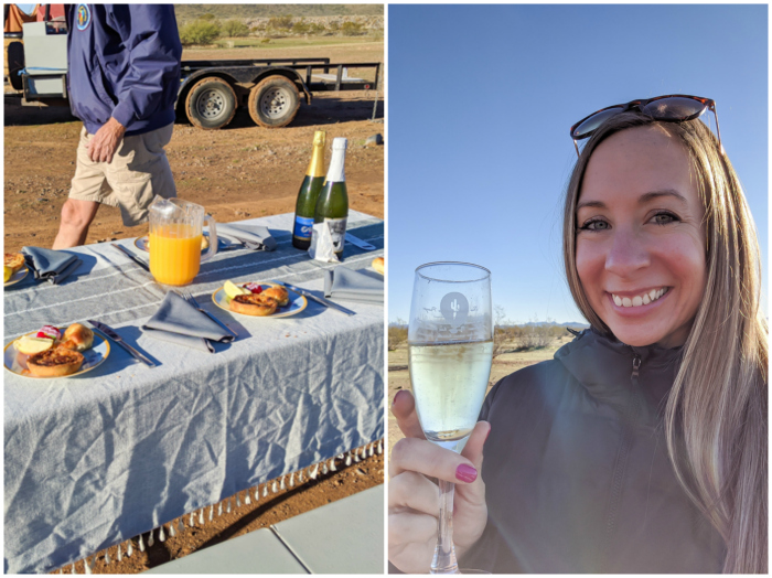 Brunch and champagne toast | What You Need to Know for Your Sunrise Hot Air Balloon Ride in Arizona | Scottsdale and Phoenix, Arizona hot air balloon rides with Hot Air Expeditions