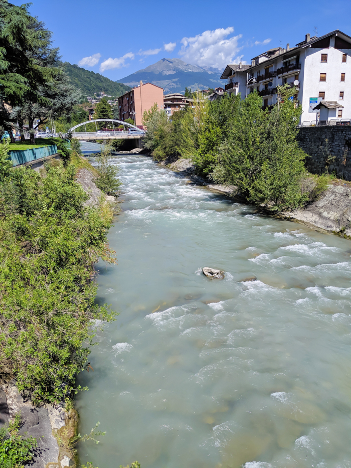 Buthier River, mountain torrent | How to Spend 1 Day in Aosta, Italy // The Capital of the Aosta Valley | Things to see in Aosta, Things to do in Aosta, Where to eat in Aosta, the smallest of Italy's 20 regions #aosta #italy #aostavalley #traveltips #timebudgettravel #romanruins #ancient #ruins