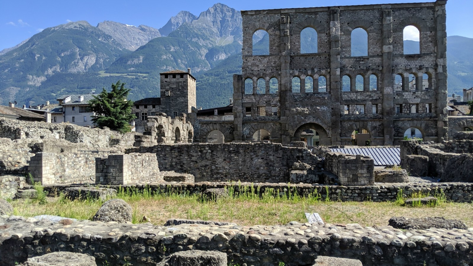 Roman Theater, roman ruins | How to Spend 1 Day in Aosta, Italy // The Capital of the Aosta Valley | Things to see in Aosta, Things to do in Aosta, Where to eat in Aosta, the smallest of Italy's 20 regions #aosta #italy #aostavalley #traveltips #timebudgettravel #romanruins #ancient #ruins