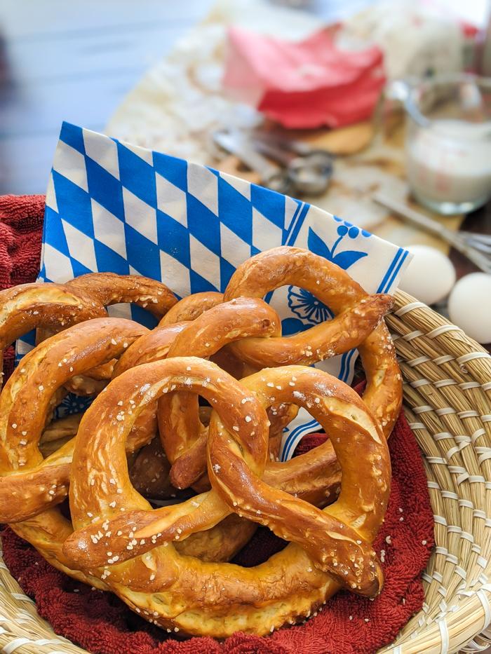 bavarian soft pretzels in a basket