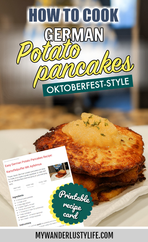 Easy German Potato Pancakes Recipe: How to make kartoffelpuffer mit apfelmus / potato pancakes with apple sauce / latkes #oktoberfest #germanfood #potatopancakes #kartoffelpuffer #applesauce #germanrecipe