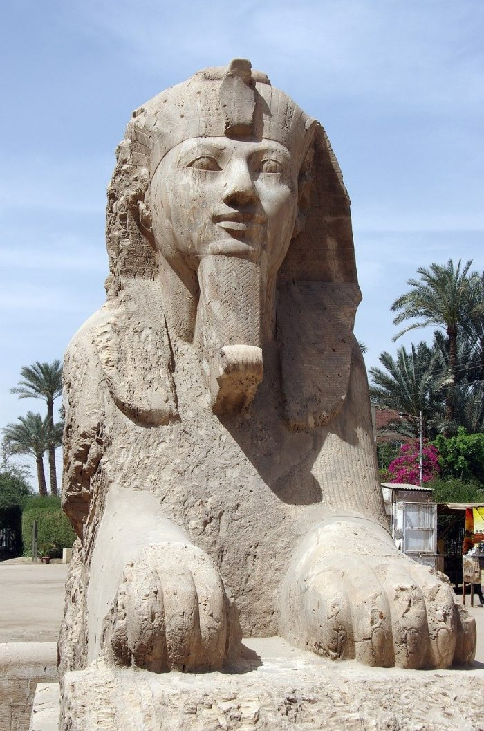 Sphinx statue in memphis egypt