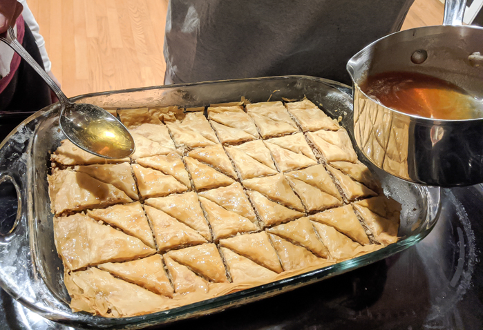 Pour the sauce over this simple honey walnut baklava recipe