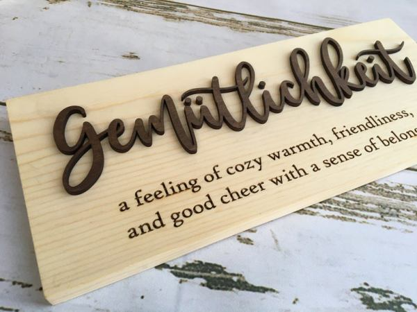 wooden gemütlichkeit sign from IdealCraftsmanship on Etsy