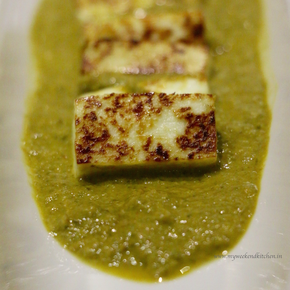 palak paneer recipe, cottage cheese in a thick spinach gravy,
