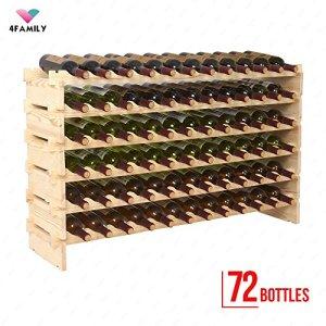 72 Bottles Holder Wine Rack Solid Wood Display Shelves