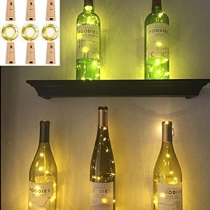 Set of 6pc Wine Bottle Cork Lights - 6.5foot/20 LED Warm White Copper Wire Lights String Starry Fairy LED Lights for Bottle DIY, Party, Decor, Halloween, Wedding or Mood Lights