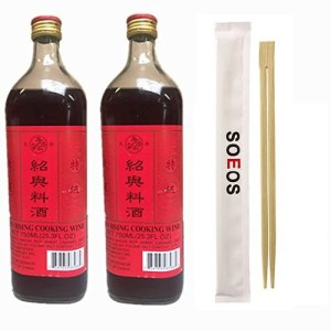 Soeos Shaohsing Rice Cooking Wine 750ML( Pack of 2)Plus Free Chopsticks
