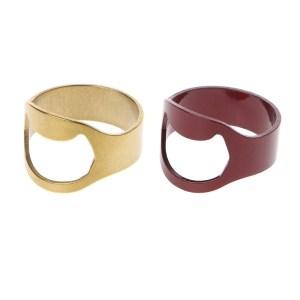 1Pc Finger Ring Bottle Opener Stainless Steel Bar Beer Wine Waiter Tool Gold Red