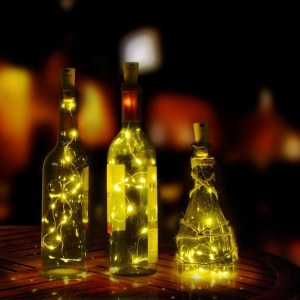 2M 20LED Wine Bottle Light Cork Shape Battery Copper Wire String Lights for Bottle DIY,Christmas, Wedding and Party