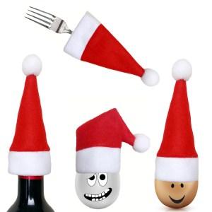 Santa Hat Christmas Knife Spoon Fork Bags Tableware Silverware Holder Xmas Mini Bottle Cap Wine Bottle Decorated Christmas Hats