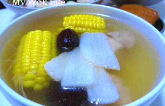 Fresh Chinese Yam Root (Huai Shan) Soup with Corn
