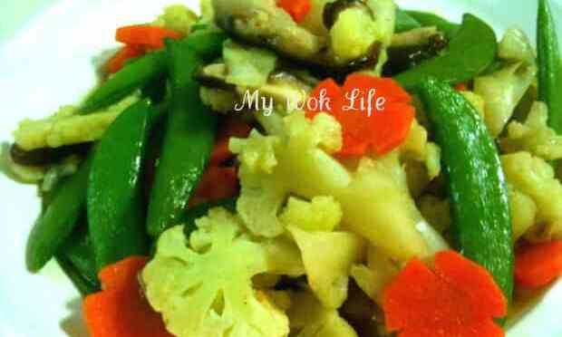 Stir Fried Cauliflower, Sweet Bean and Fresh Shiitake Mushrooms