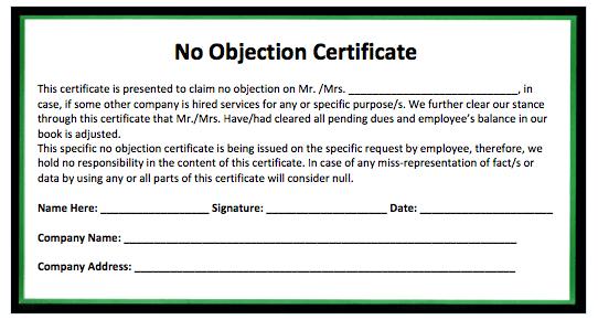 Doc768994 Sample Noc Letter Sample No Objection Letter – Letter of No Objection Template