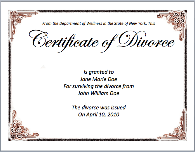 Divorce Certificate Template Microsoft Word Templates