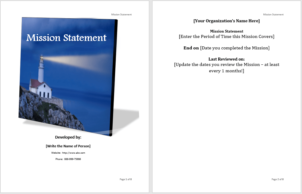 Mission Statement Template Microsoft Word Templates