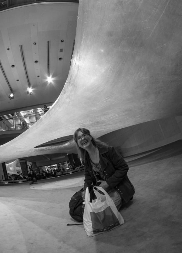 Me sitting down on the concrete floor of Spiral's Atrium. (Photo by Susanne Bund.)