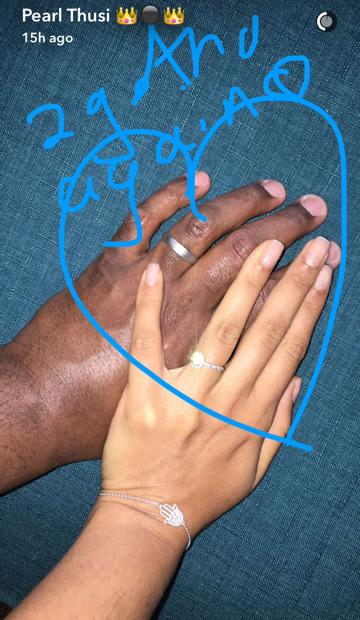 Pearl Thusi And Robert Marawa engagement rings