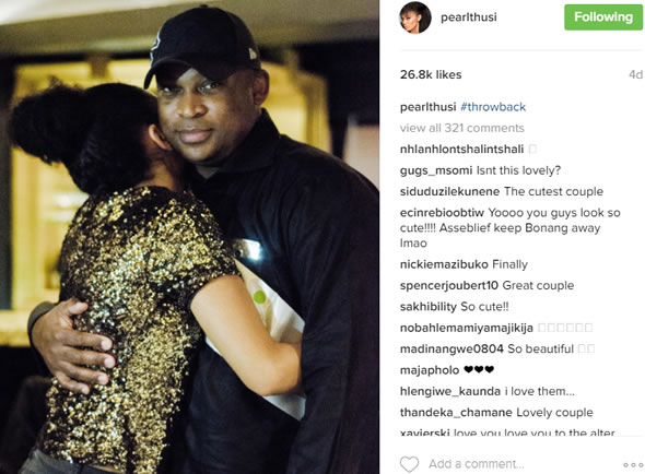 Pearl Tthusi and Robert Marawa love
