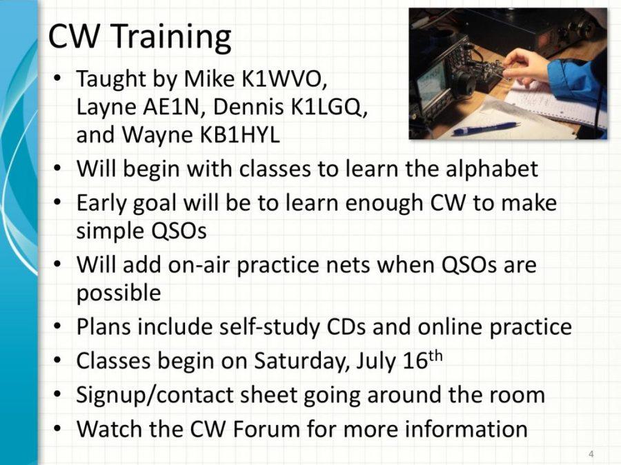 CW Training Class Details