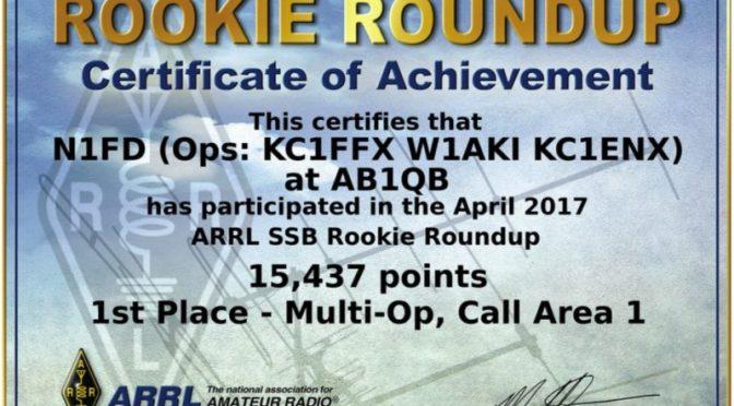 Ham Radio Contest - 2017 ARRL Rookie Roundup SSB Certificate