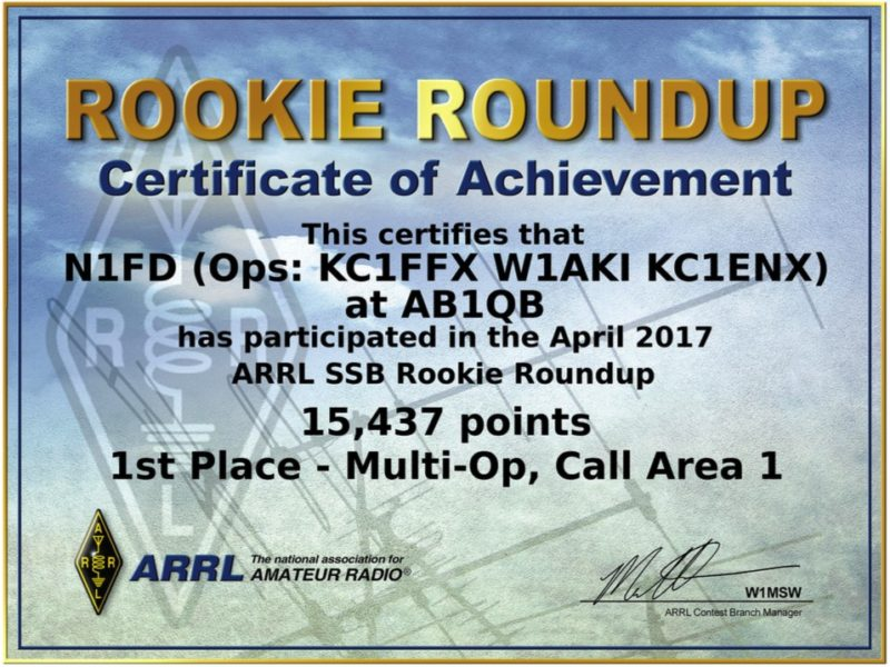 Operating Awards - 2017 ARRL Rookie Roundup SSB Certificate