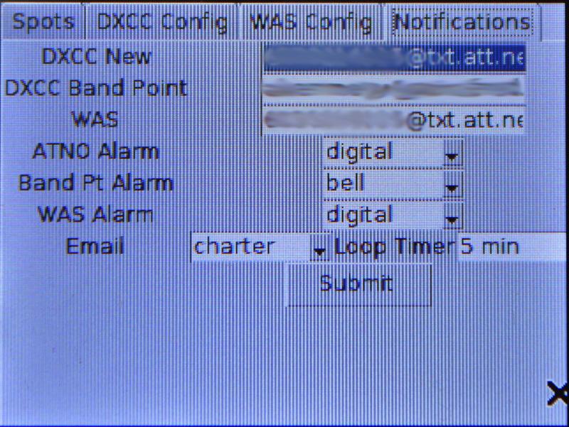 Ham Radio Raspberry Pi Project - Notification Configuration Screen