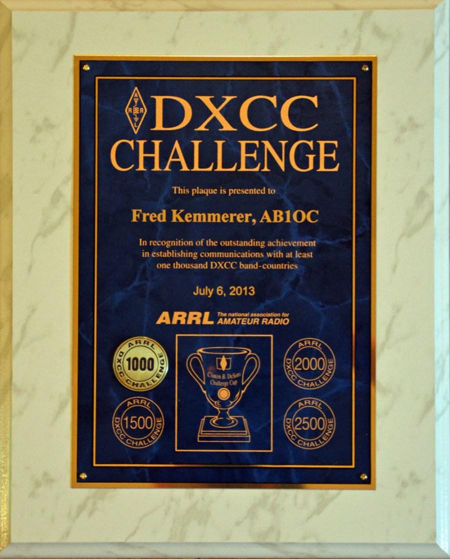 Why Ham Radio - DXCC Challenge Award Plaque