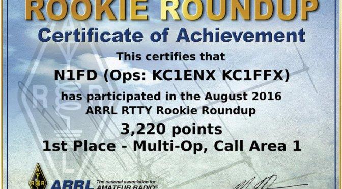2016 ARRL Rookie Roundup RTTY Certificate