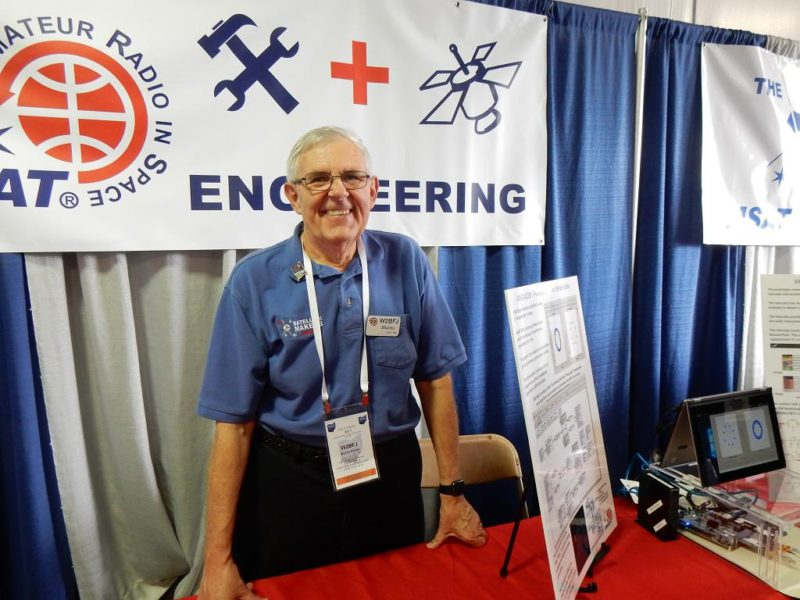 Burns, W2BFJ at the AMSAT booth at the Dayton Hamvention