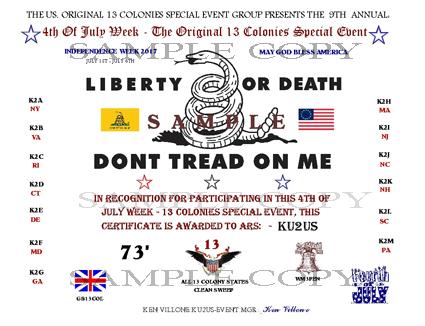 2017 Thirteen Colonies Special Event Certificate
