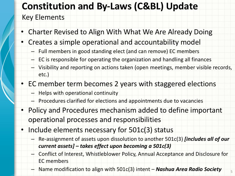 Other Elements of Our Updated Constitution and By-Laws
