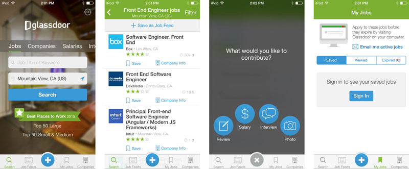 GlassDoor - أفضل تطبيقات البحث عن الوظائف وكتابة السيرة الذاتية للأندرويد والآيفون