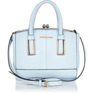 Blue Mini Structured Tote Bag River Island