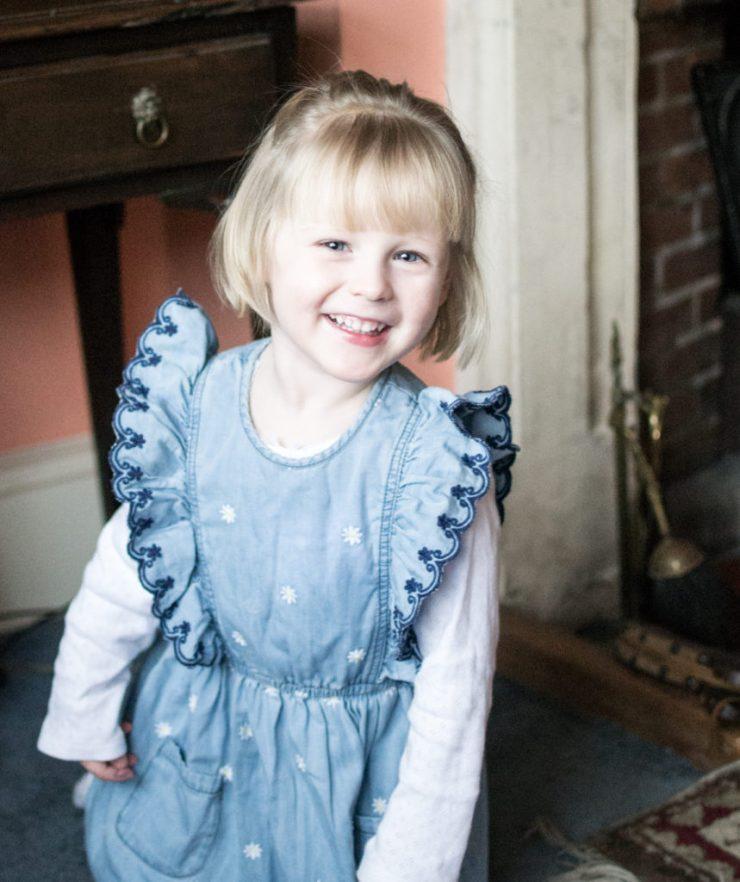 Mothercare Denim Embroidered Angel Sleeved Dress