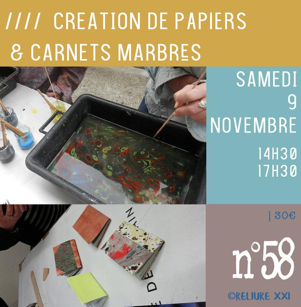 Atelier pour fabriquer son papier marbrés comme les grands marbreurs et confectionner votre petit carnet relié