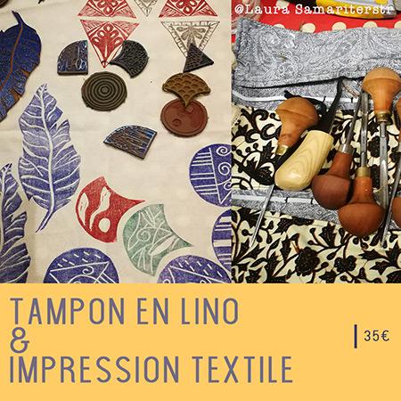 atelier impression sur textile - technique au tampon