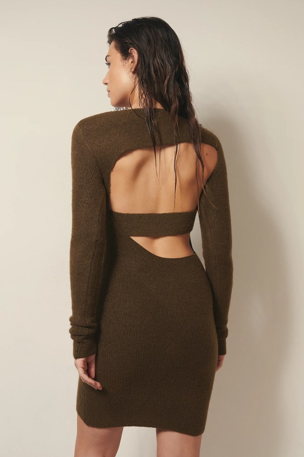 chestnut Cut Out Heavy Knitted Mini Dress