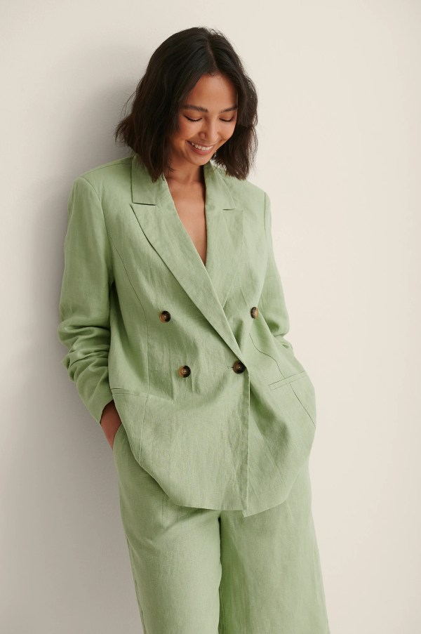 Pistachio Double Breasted Linen Blazer