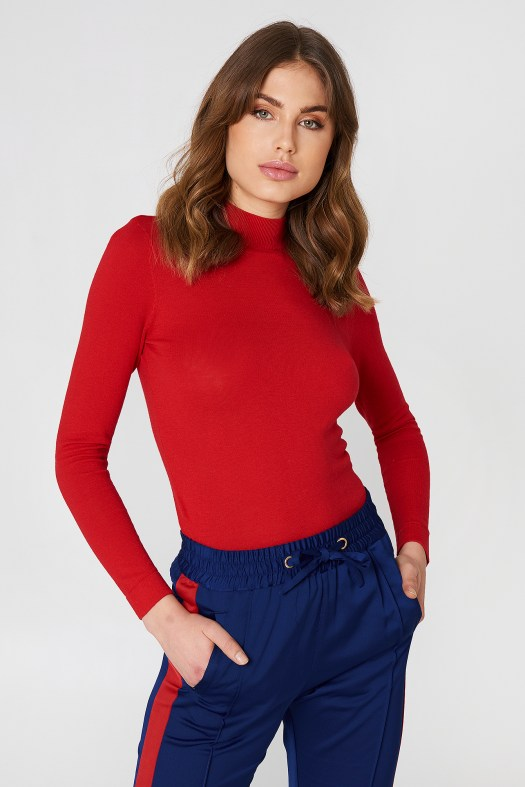Na-kd Tight Turtleneck Ls Top Red | ModeSens