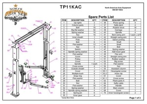 TP11KAC Parts Breakdown | Replacement Parts for 11,000lb 2