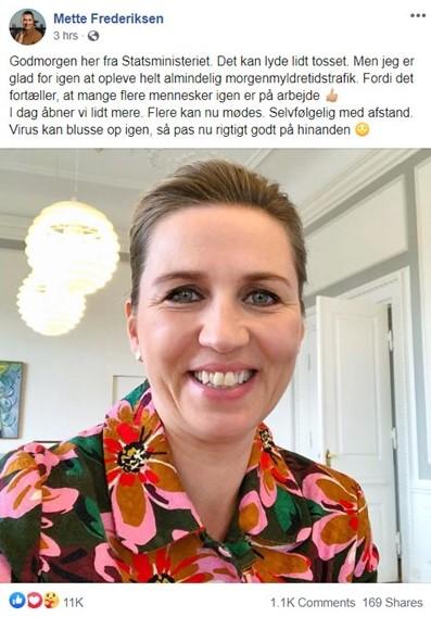 منشور رئيسة الوزراء ميته فريديركسن على صفحتها على فيسبوك صباح اليوم