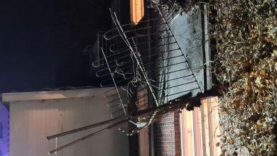 صورة الشرطة: إصابة 5 أشخاص جراء سقوط شرفة على الطابق الأول في مدينة Kolding