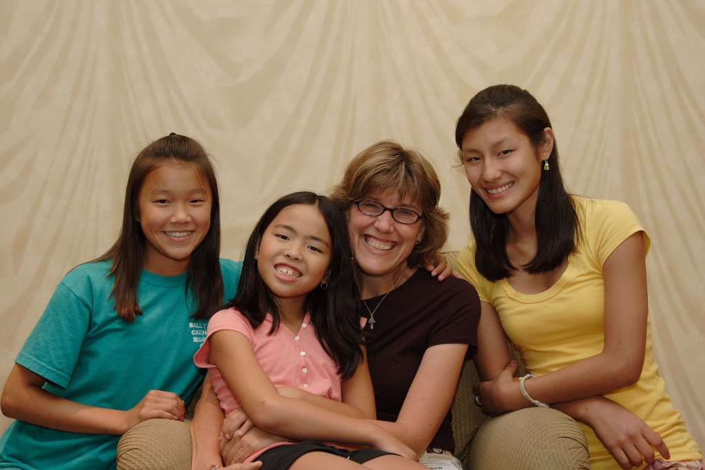 mother and three teens