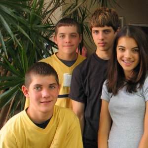 Four teenage kids