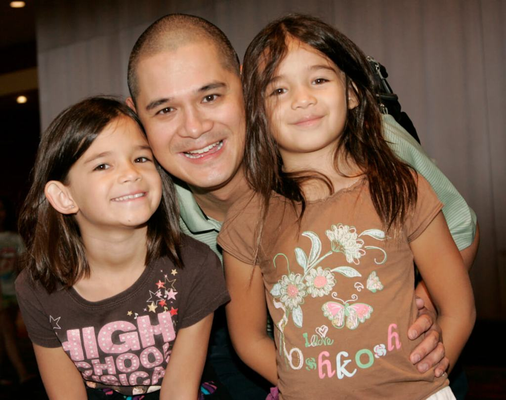 Father with two daughters