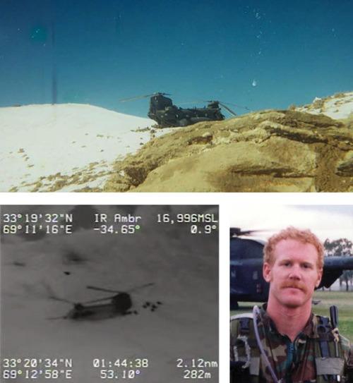 "Links: Drohnenaufnahme der Schlacht am ""Roberts Ridge"", rechts: Neil Roberts. Quellen: U.S. Department of Defense; Familie Roberts"