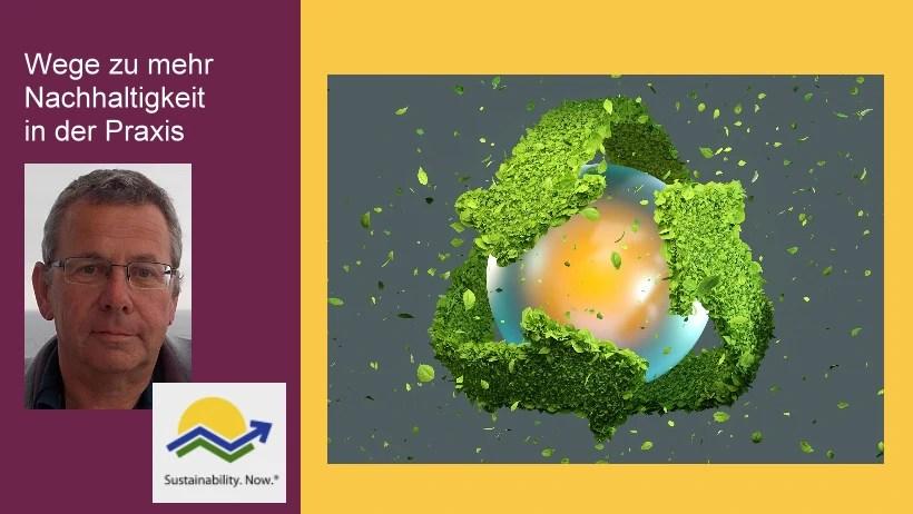 Der Experte für Nachhaltigkeit Michael Wühle sieht auf die drei Dimensionen der Nachhaltigkeit.